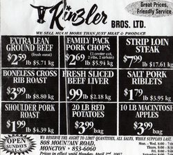 Rinzler's Store Flyer found in the Times and Transcript every Saturday.
